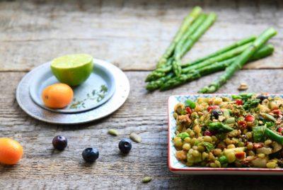 Salade de lentilles aux légumes arc en ciel