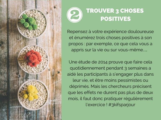 Trouver 3 choses positives